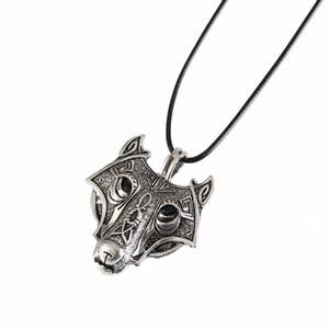 Vikings 1pcs Norse Pendentif Collier Norse tête de loup hommes femmes Collier bijoux d'origine animale tête de loup hangement