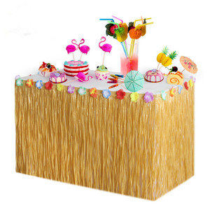 DIY Hawaii Table Skirts Luau Grass Hula Flower Table Skirt Tableware For Birthday Party Baby Shower Wedding Decoration Home Party Christmas