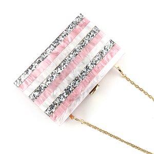 Европейская Акриловая Полосатого мешок вечера женщины Розовой Геометрическая Sequined Лоскутного Телефон день Кошелек Клатчи свадьба невеста цепь сумка