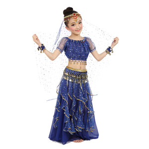 New Style Kids Belly Dance Costume Oriental Dance Costumes Belly Dancer Clothes Indian Costumes For Kids 3pcs/set