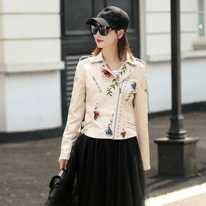 LY VAREY LIN 여성 인조 가죽 자켓 자수 오토바이 블랙 펑크 재킷 코트 리벳 지퍼 여성 가짜 겉옷