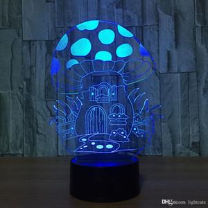 Творческий Акриловые 3D Красочные USB Mushroom House NightLight Градиенты мультфильм Led Настольная лампа освещения Спальня Декор светильники