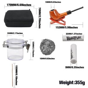 RICH DOG Tobacco Bag Set Wood Tobacco Pipe + Smoking Pipes Cleaning Tools + Carbon Pipe Filters + Glass Stash Jar For Herb