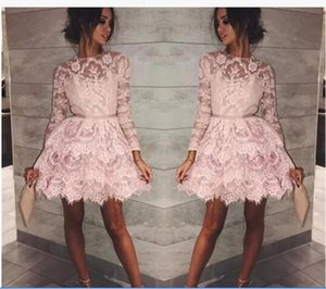 Sheer Long Sleeves Lace Cocktail Dresses A Line Jewel Neck Short Homecoming Dresses Sweet 16 Party Gowns