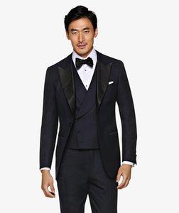 Nuevo esmoquin de novio azul marino Traje de novio padrino de solapa de pico negro Excelente chaqueta de fiesta de negocios para hombre Blazer (Jacket + Pants + Tie + Vest) 70