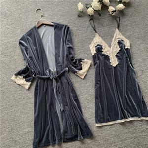 MECHCITIZ Sexy Ladies Velvet Robe Robe Ensemble Sous-Vêtements femmes Vêtements de nuit Peignoir Pyjama Lingerie Automne Hiver Dentelle avec Robe Y200425