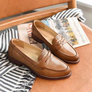 Sivri Burun Flats Artı boyutu Ayakkabı El yapımı 27013 CX200720 On BeauToday Penny Loafers Kadınlar Koyun postu Moccasin Gerçek Deri Kayma