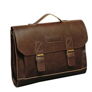 Messenger Bag maschio Laptop Bag borsa di affari Tracolle in pelle Crazy Horse PU uomini Uomini di Cartella di viaggio