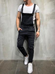 Macacões Homens Vintage Jeans Buracos Pockets Lavados Botão Street Style lápis calças Casual Mens Moda Jeans