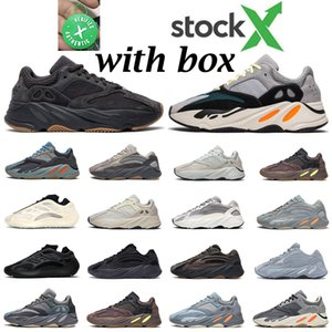Stock x kanye 700 hombres mujeres zapatos para correr Wave Runner Utility Black Inertia Hospital carbon blue Azael mens trainer fashion sports sneakers