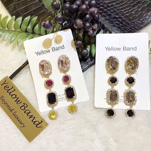 2019 coréen Baroque Coloré Crystal Colorful Drop Boucles d'oreilles pour femmes élégantes Strinest Strass Square Pendientes