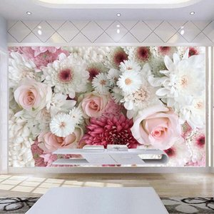 مخصص 3D جدار جدارية كلاسيك روز زهور الفاوانيا صور خلفيات غرفة المعيشة الزفاف البيت خلفية جدار ديكور بابيل دي Parede