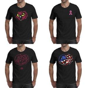 Hommes Temple Owls impression football vieux logo Imprimer chemise noire t-shirts personnalisés bande Slogan américain de basket-ball Etats-Unis drapeau Stroke rose