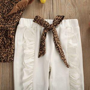 Autumn Kid Baby Girl Clothes Sets 3pcs Ruffle Long Sleeve Leopard Tops Leggings Pants Headband Outfit Set Tracksuit