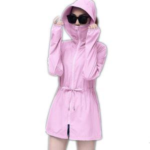 Женские куртки с длинным рукавом плюс размер 4XL летние женщины Sun UV защитная куртка одежда женщина 2021 с капюшоном среднего длинного пляжа CQ1939