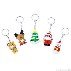 سلاسل PVC عيد الميلاد سلسلة المفاتيح ثلج سانتا كلوز إلك سيليكون مفتاح لينة الغراء شجرة عيد الميلاد قلادة مفتاح خواتم مجوهرات اكسسوارات