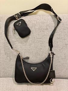 Re-edición de 2005 bolso de diseño nylon de alta calidad diseñador bolso de cuero de señora mayor venta cruzada cuerpo bolsa de asas de bolsa de la cadena de lujo