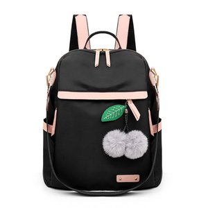 2020 New Quality Hair Ball Pendant Backpack Waterproof Simple College Wind Bag Youth Girl Travel Backpack