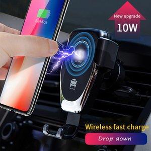 Monte cargador de coche inalámbrico rápido del teléfono celular móvil de la carga 10W Qi Q12 soporte para teléfono Negro Blanco 360 Rotación
