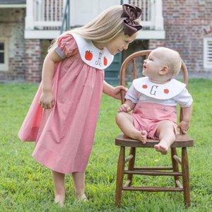 Kids Summer Spanish Girls Dress Cotton Short Sleeve Plaid Spain Dresses For Toddler Girls Boys Shirt Pants Sets L206