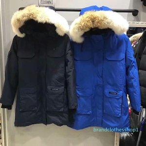 Bester Version Down Jacket Wolf-Pelz-Kragen Außen Big G00se Daunenjacke Männer und Frauen-Qualitäts-Jacke HFBYYRF008