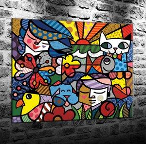 Romero Britto 1-3, Impression Canvas HD New Art Décoration Peinture / (Unframed / encadré) merveille Villains
