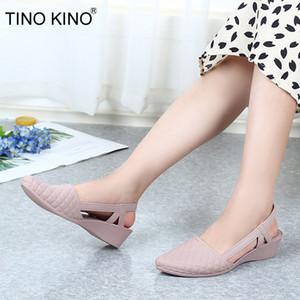 Zapatos TINO KINO verano de las mujeres del abrigo del tobillo sandalias de las señoras de las cuñas Mujer punta estrecha plataforma de la manera Zapatos Casual Mujer Moda