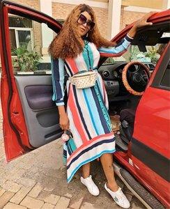 BAIBAZIN 2019 Venda Quente Nova África Europa e América Vestidos De Mulheres Camisa Longa Listrada Vestido Saia grande swing