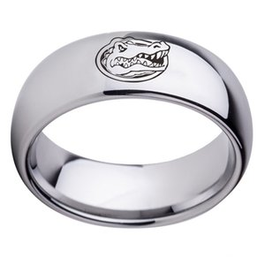 Florida Gators College 8MM Stainless Steel Rings For Women Men Fashion Jewelry Band monochrome Silver Black Gold Blue colorful Rings