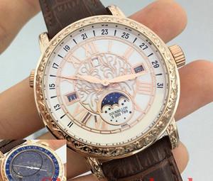 Blue Belt Mens Stainless-Uhr-Männer Sport Art und Weise Bewegung Quarz-Armbanduhr-Saphir-Männer männliche Uhr Himmel Mond