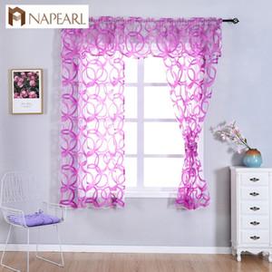 NAPEARL Kitchen janela Valance e Tiers do design geométrico de gaze Organza Sheer Curtains curtas infinita Padrão Tulle Decor cortinas