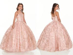 2021 Vestidos de niñas de lentejuelas de oro brillante de oro rosa para la fiesta de cumpleaños de la boda fiesta de la cerradura de la parte posterior del cristal con cuentas del niño de la primera comunión vestido