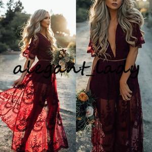 부르고뉴 레이스 긴 신부 들러리 드레스 2020 V-neck 짧은 소매 보헤미안 비치 컨트리 하녀 명예 웨딩 파티 게스트 드레스