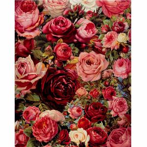 Quadro Frameless Rose Flores DIY Pintura By Numbers Mordern Wall Art Mão óleo pintado pintura Para Casa Decor Obra 40x50cm