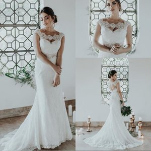 Modest Scoop Neck Lace Open Back Mermaid Wedding Dresses Cap Sleeve Sweep Train Country Style Bridal Wedding Gowns