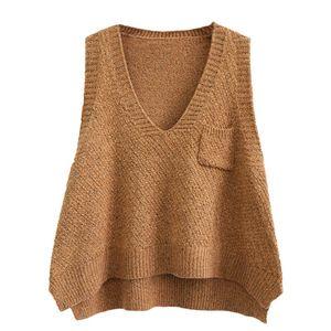 Корейский V-образным вырезом свитер женщин рукавов жилет Короткий Карманный Vest Сыпучие Большой размер Сплошной цвет Женский Популярные свитер пальто E109