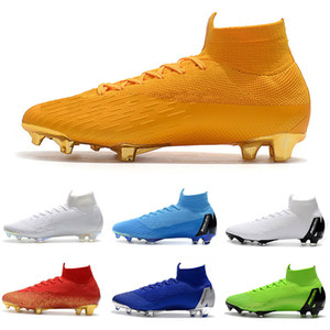 2019 nouvelles chaussures de football Mercurial Superfly VI 360 crampons de football Elite FG Neymar CR7 Crampons de football de Ronaldo SuperflyX d'orange