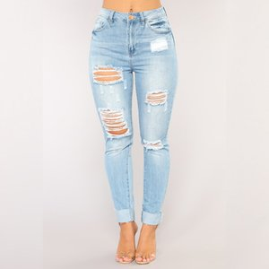 Size 3XL Fashion Woman's Female Sexy Straight Skinny Hole Ripped Denim Pencil Jeans Pants leggings Trousers Clothing Clothes