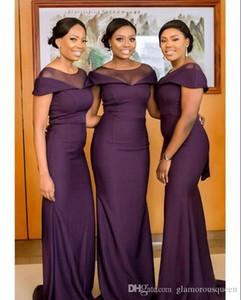 South African Dark Purple Brautjungfernkleider Sommer Boho Garden Hochzeitsgast Kleider Trauzeugin Plus Size Dress Billig