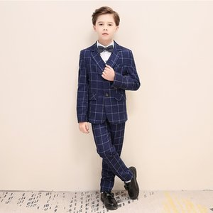 kid's tuxedo boy's suit flower boy's suit male flower girl for wedding kids prom suits baby boy blue check
