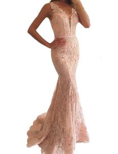 Elegant Illusion Mermaid Evening Gowns Blush Prom Dresses V-neck Lace Appliques Beaded Meerjungfrau Abendkleider Floor Length