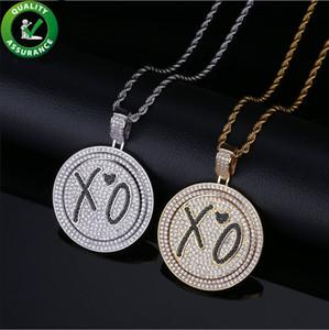 Hip Hop Schmuck Designer Halskette Iced Out Anhänger Herren Goldkette Rapper Migos XO Drehbare Doppel Disc Anhänger Diamant CZ Luxus Hochzeit