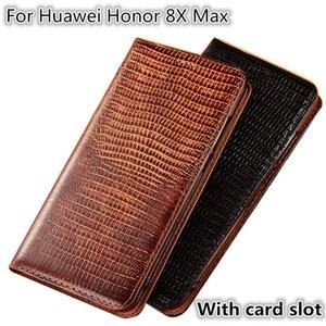 QX08 Ящерица Pattern Натуральная Кожа Магнитный Телефон Чехол Для Huawei Honor 8X Макс Флип Чехол Для Huawei Honor 8X Макс Телефон Сумка Слот Для Карты