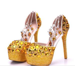مذهلة أحذية الذهب كريستال زفاف العرسان الكعوب العالية ل 14cm 5cm ومضخات بلينغ لمساء حفلة موسيقية حزب اللباس أحجار الراين مطرز