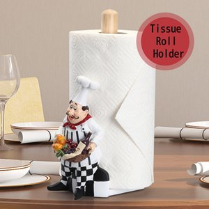Home Decoration Art Crafts Kitchen Seat Type Paper Tissue Rolls Holder Box Dinning Room Chef Human Resin Tissue Canister
