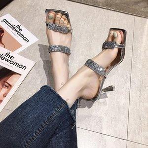 Gold Silver High Heel Slippers Sandals Mulheres dedo do pé aberto Lantejoula Chinelos Verão Sexy metal Heel Sandals Mulheres 2020 Zapatos Mujer