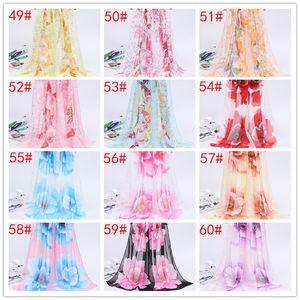 2020 Art und Weise Chiffon- Georgette-Seide-Schal für Hijab Pfingstrosen-Blumen-Bandana Summber Strandtuch Sarong-Schal-Schal-Verpackung