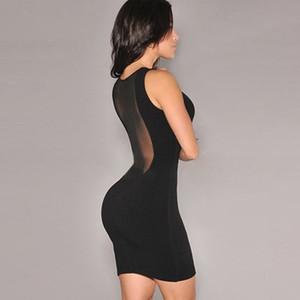 Sexy See Through без рукавов Лето Bodycon Женщины Платья сетка Пляж Женщины полиэстер черный вечер Party Club Mini платье Vestidos