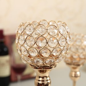 Crystal Tealight Candle Holders Metal Glass Candlesticks Wedding Table Centerpiece Party Christmas Home Decoration Hogar Moderno