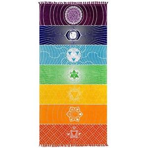 JLN Yoga Minderi Goblen Gökkuşağı 7 Chakra Stripes Seven Chakra Sarongs Plaj Havlusu Yaz Duvar Asma Mandala Battaniye Seyahat Güneş Koruyucu Şal